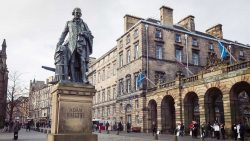 Statue of Adam Smith in Edinburgh, Scotland.