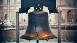 Close-up of the liberty bell.