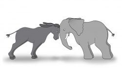 Cartoon illustration of a donkey and an elephant butting heads.