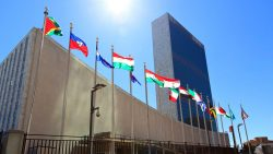 Flags and UN building