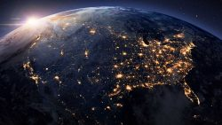 America at night from space