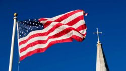 American Flag and a Church