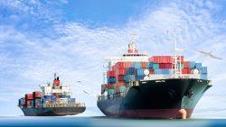 Cargo ships at sea